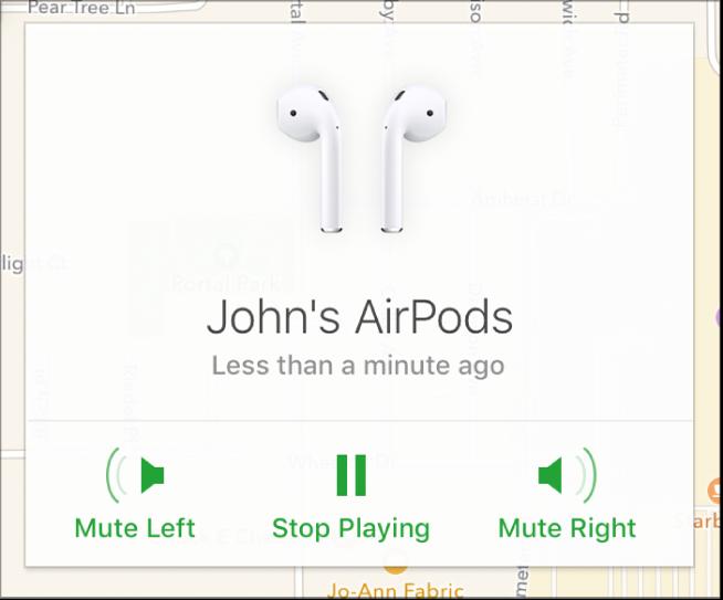 A Bal némítása, a Lejátszás leállítása és a Jobb némítása gomb az AirPods-információk ablakban.