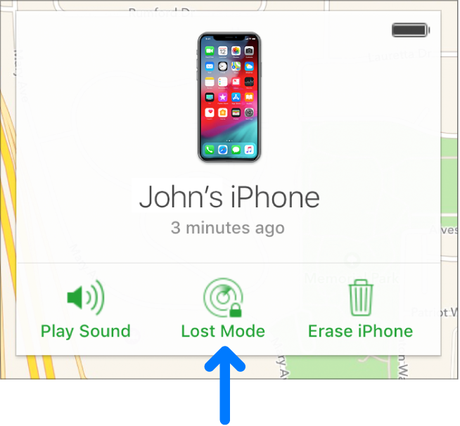 デバイスの「情報」ウインドウの下中央にある「紛失モード」ボタン。