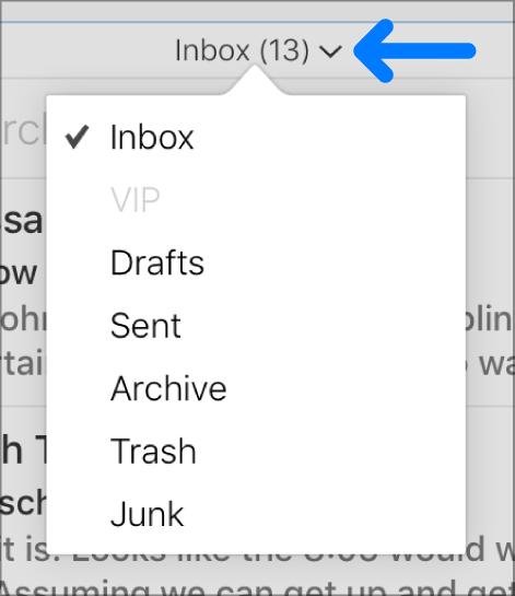 O menu pop-up acima da lista de mensagens com as pastas Entrada, VIP, Rascunhos, Enviadas, Arquivar, Lixo e Indesejadas.