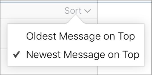 As opções do menu Ordenar: Mensagem mais antiga em cima e Mensagem mais recente em cima.