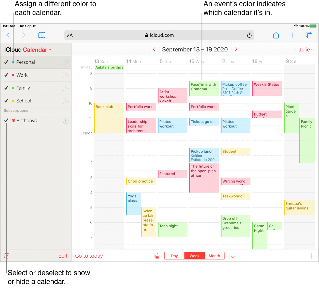Fereastra aplicației Calendar iCloud, cu mai multe calendare vizibile. Atribuiți o culoare diferită fiecărui calendar. Culoarea unui eveniment indică tipul de calendar din care face parte. Selectați sau deselectați o bifă pentru a afișa sau a ascunde un calendar.
