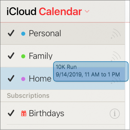 Перемещение события из одного календаря в другой. Новый календарь выделен цветом.