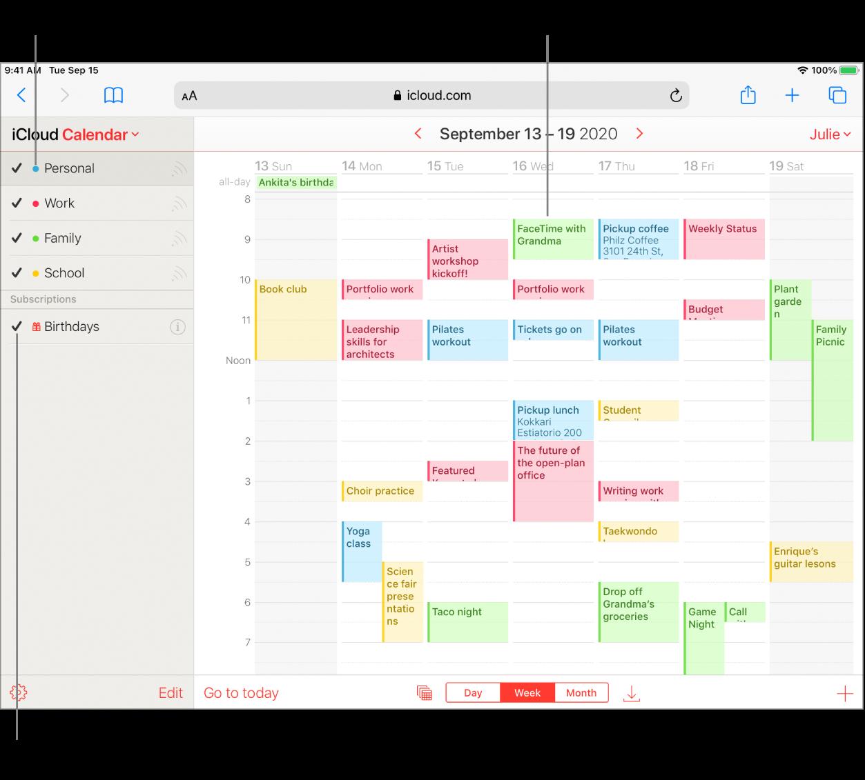 Вікно програми «Календар» iCloud із кількома відкритими календарями. Календарям можна призначати кольори. Колір події вказує на те, у якому календарі її створено. Поставте або зніміть мітку, щоб відобразити або сховати відповідний календар.