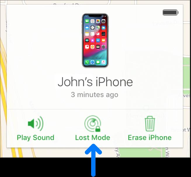 """设备""""信息""""窗口底部中间位置的""""丢失模式""""按钮。"""