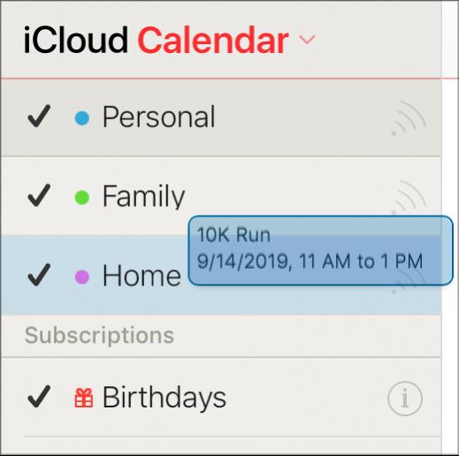 行程從一個行事曆拖移至另一個行事曆。新的行事曆已特別標明。