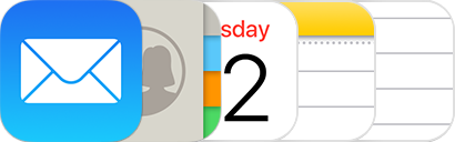 The Mail, Contacts, Calendar, Notes and Reminders icons.