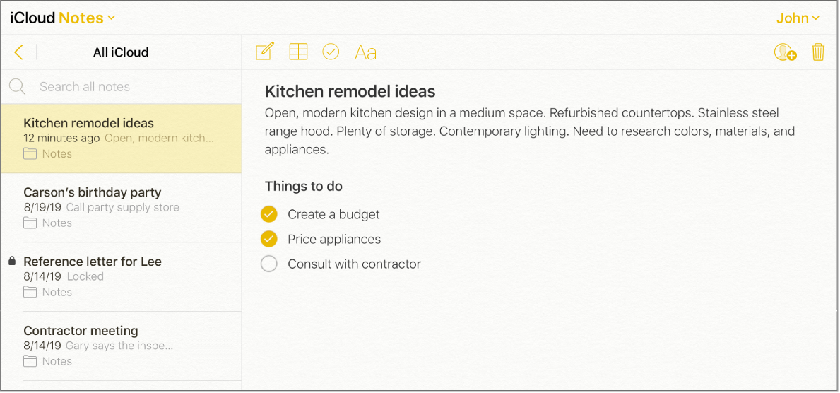 """An iCloud note with the title """"Kitchen remodel ideas"""". It includes a checklist called """"Things to do"""" with two items checked off."""