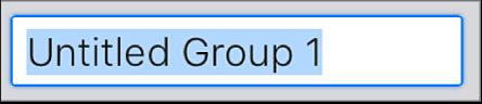"""""""समूह बनाएँ"""" टेक्स्ट फ़ील्ड।"""