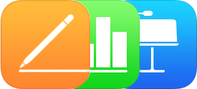 Os ícones das apps Pages, Numbers e Keynote.