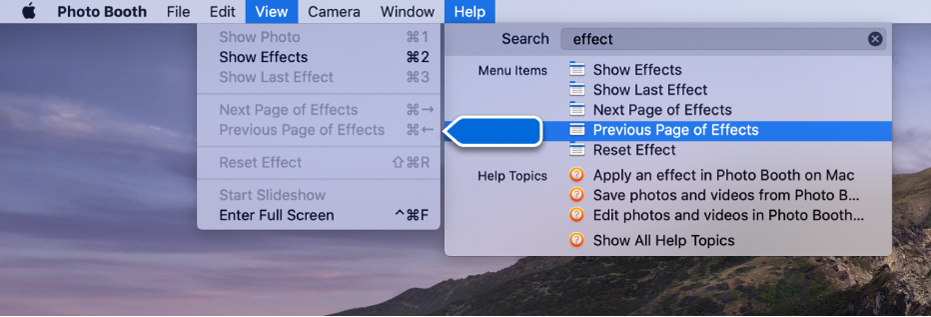 The Photo Booth Help menu with a search result for a menu item selected and an arrow pointing to the item in the app menus.