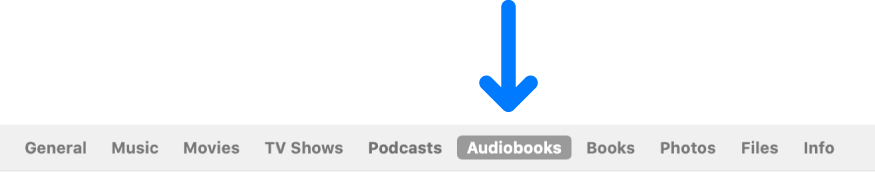 The button bar showing Audiobooks selected.