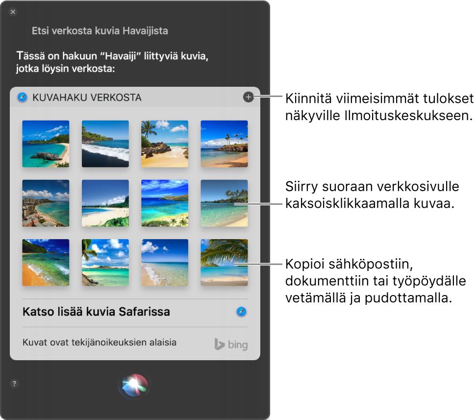 """Siri-ikkuna, jossa näkyy pyynnöllä """"Etsi verkosta kuvia Havaijin hiekkarannoista""""  saadut Siri-tulokset. Voit kiinnittää tulokset Ilmoituskeskukseen, avata kuvan verkkosivun kaksoisklikkaamalla kuvaa tai vetää kuvan sähköpostiin, dokumenttiin tai työpöydälle."""