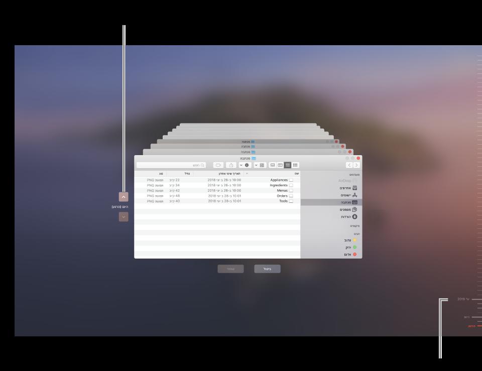 בעת פתיחת Time Machine, התמונה על גבי המסך תהיה מטושטשת ויופיעו בו מסכי Finder מרובים בערימה לייצוג גיבויים. לחץ/י על החצים כדי לנווט בין הגיבויים שלך (או לחץ/י בציר הזמן של הגיבוי בצד ימין), ובחר/י אילו קבצים לשחזר.