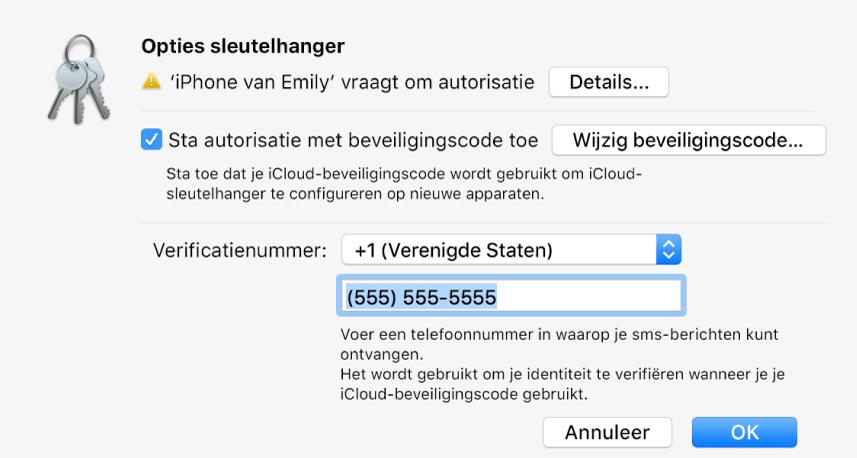 Dialoogvenster met de opties van iCloud-sleutelhanger, met de naam van het apparaat dat om goedkeuring vraagt en de knop 'Details' ernaast.
