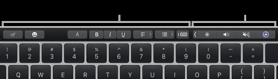 Touch Bar med knapper som varierer avhengig av program eller oppgave til venstre, og Control Strip, som er minimert, til høyre.