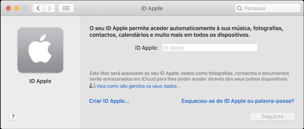 """Caixa de diálogo do ID Apple, pronta para a introdução de um ID Apple. Uma hiperligação """"Criar ID Apple"""" permite-lhe criar um novo ID Apple."""