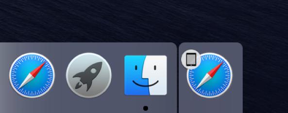 أيقونة Handoff لتطبيق من الـiPad على الجانب الأيمن من الـDock.