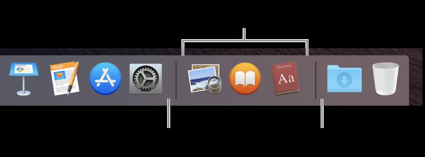 Una part del Dock que mostra les línies separadores entre les apps, les apps utilitzades recentment, i els arxius i carpetes.