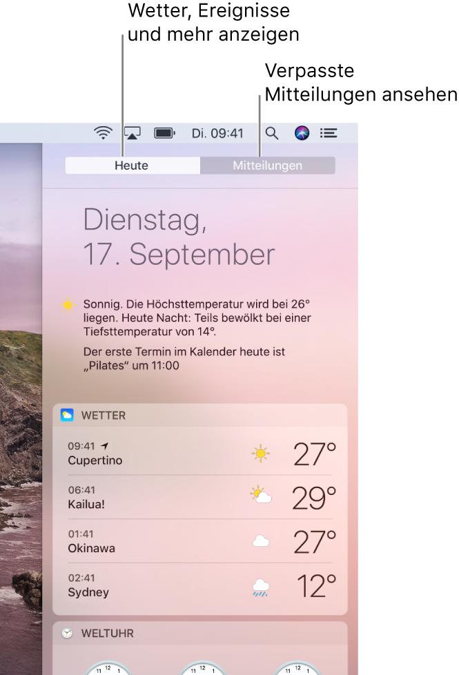 """Darstellung """"Heute"""" mit dem Wetter an drei Orten. Klicke auf den Tab """"Mitteilungen"""", um Mitteilungen anzuzeigen, die du verpasst hast."""