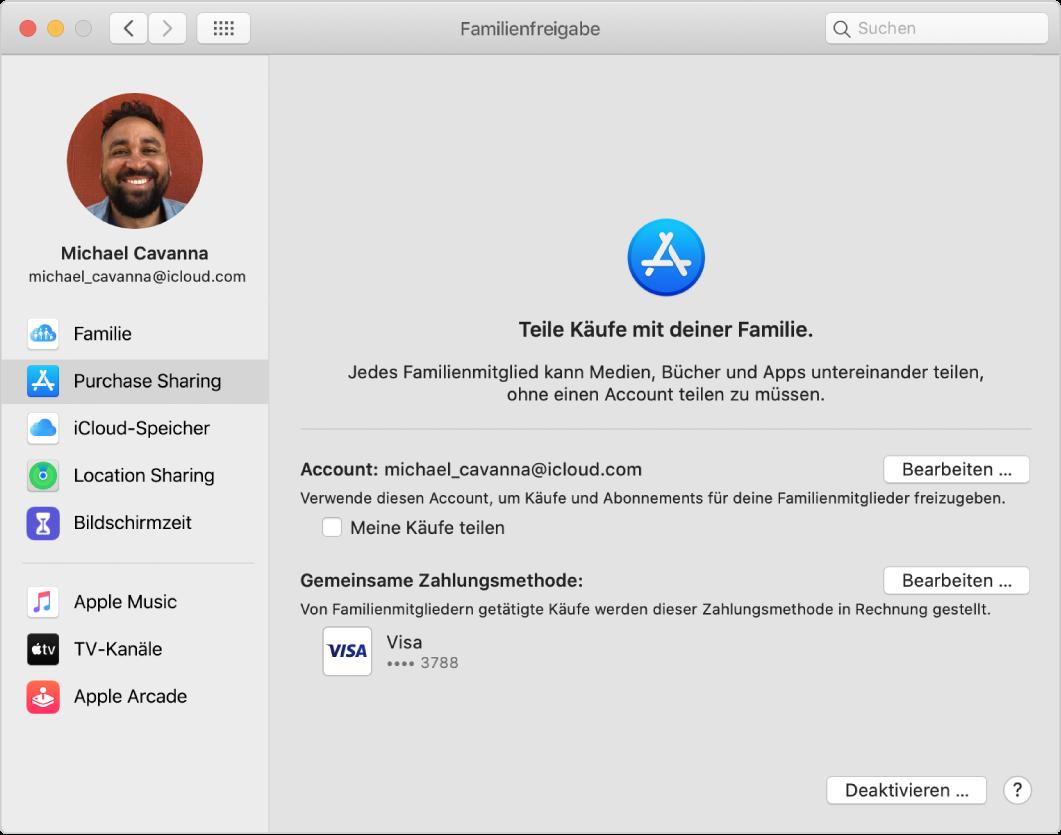 """Systemeinstellung """"Familienfreigabe"""" mit einer Seitenleiste der verschiedenen Typen von Accountoptionen, die du verwenden kannst, und Einstellungen unter """"Kauffreigabe"""" eines vorhandenen Accounts"""