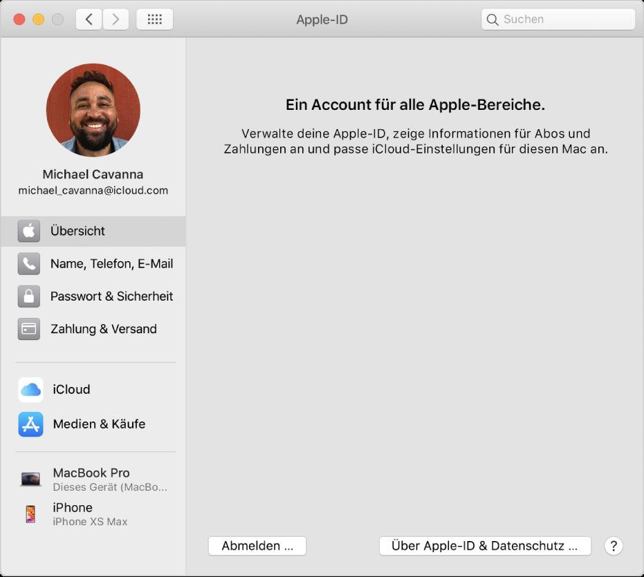 """Systemeinstellung """"Apple-ID"""" mit einer Seitenleiste der verschiedenen Typen von Accountoptionen, die du verwenden kannst, und Einstellungen unter """"Übersicht"""" eines vorhandenen Accounts"""