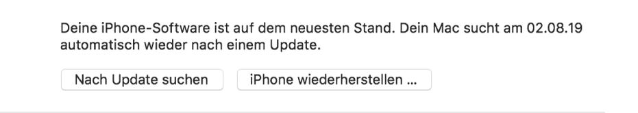 """Die Taste """"[Gerät] wiederherstellen"""" wird neben der Taste """"Nach Updates suchen"""" angezeigt."""