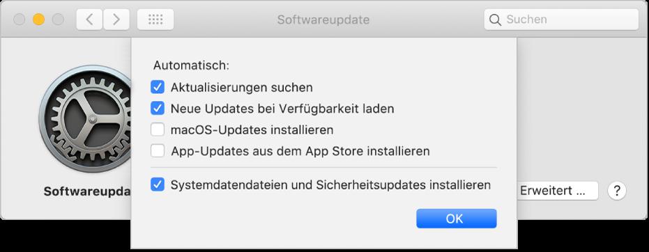 """Erweiterte Optionen für die Systemeinstellung """"Softwareupdate"""