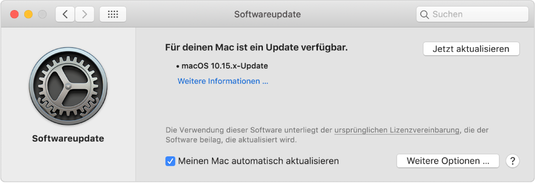 """Die Systemeinstellung """"Softwareupdate"""" zeigt, dass eine Aktualisierung verfügbar ist."""