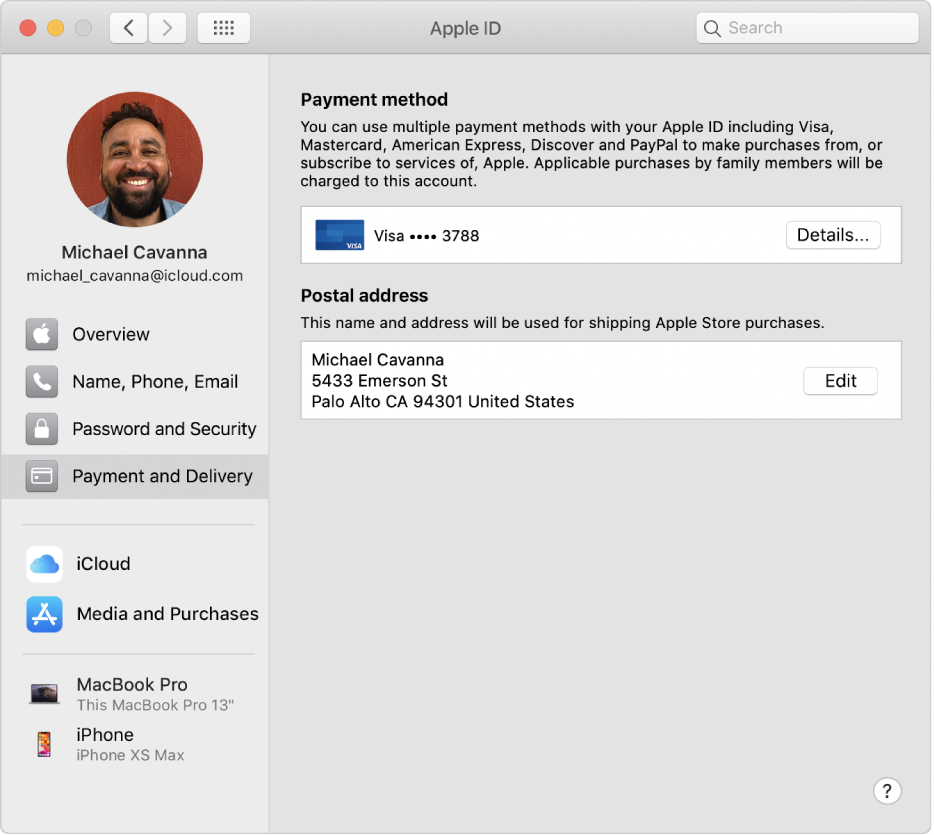 Apple ID preferences showing a sidebar of different types of account options you can use and the Payment & Delivery preferences for an existing account.