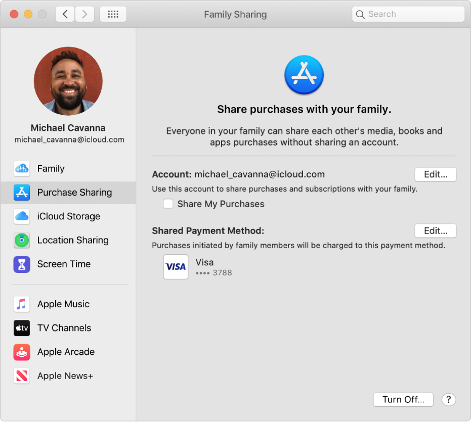 Family Sharing preferences with Purchase Sharing selected in the sidebar and, on the right, the account and payment method being used for the purchases.