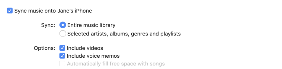 """Sync music onto device"" tickbox appears with additional options for syncing your entire library or only selected items and including videos and voice memos in the syncing process."