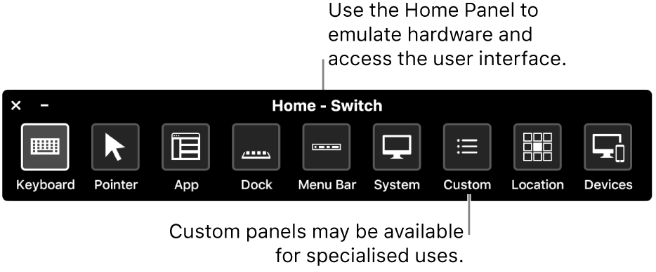 The Switch Control Home Panel provides buttons to control, from left to right, the keyboard, pointer, app, Dock, menu bar, system controls, custom panels, screen location and other devices.