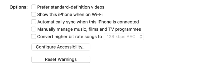 "Syncing options appear in a list of tickboxes, including the ""Prefer standard definition videos"" and the ""Convert higher bit rate songs to"" tickboxes"