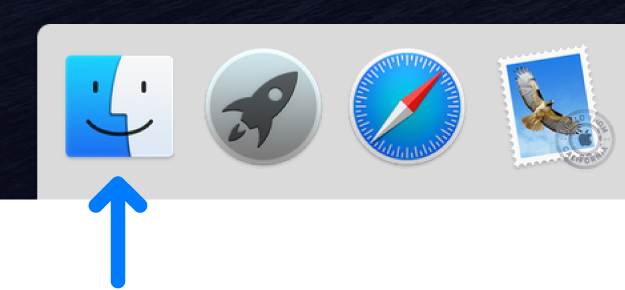 A blue arrow pointing to the Finder icon on the left side of the Dock.