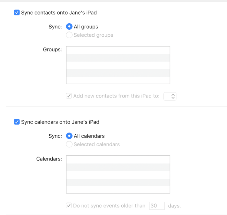 "The Info syncing options showing the ""Sync contacts on device"" and ""Sync calendars onto device"" tickboxes and options for selecting groups of contacts and a selection of calendars."