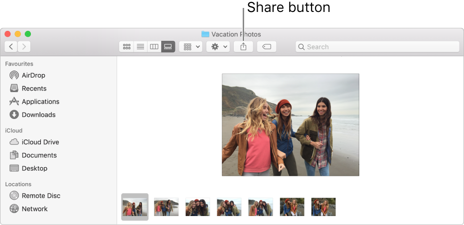 The Share button in a Finder window toolbar.