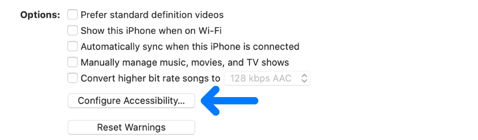 Syncing options appears with the Configure Accessibility button identified.