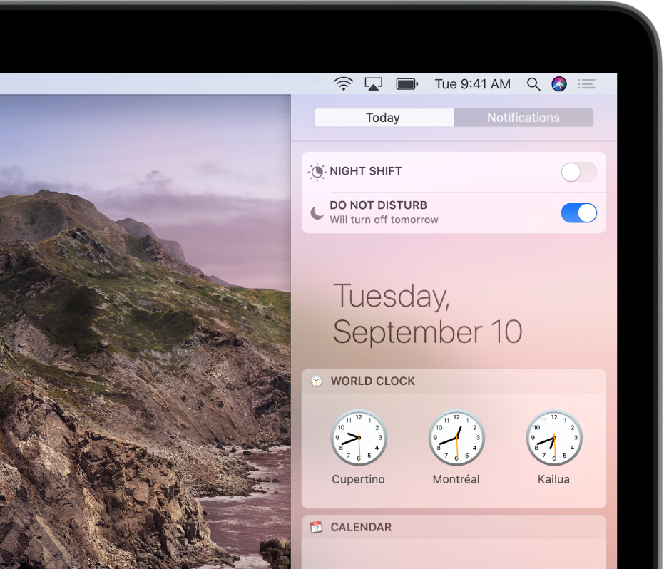 Notification Center showing the button to turn Do Not Disturb on or off.
