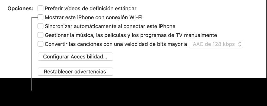 """Las opciones de sincronización con casillas para administrar los ítems de contenido manualmente con la casilla """"Mostrar este [dispositivo] con conexión Wi-Fi"""" identificada."""