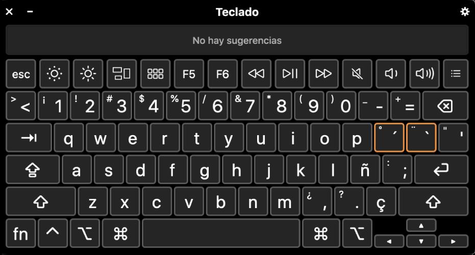 El visor de teclado con la disposición de español.