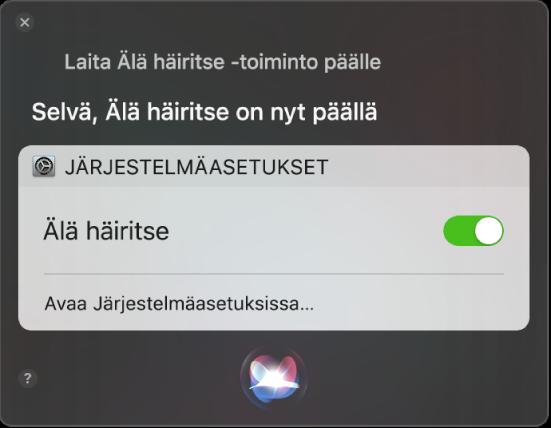"""Siri-ikkuna, jossa on pyyntö suorittaa """"Laita Älä häiritse -toiminto päälle""""."""