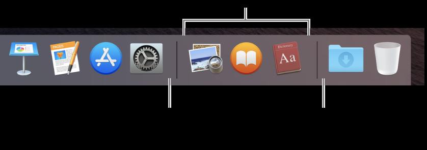 L'extrémité droite du Dock. Ajouter des apps à la gauche de la section des apps récemment utilisés et ajouter des dossiers à la droite de cette section, où la pile Téléchargements et la Corbeille se trouvent.