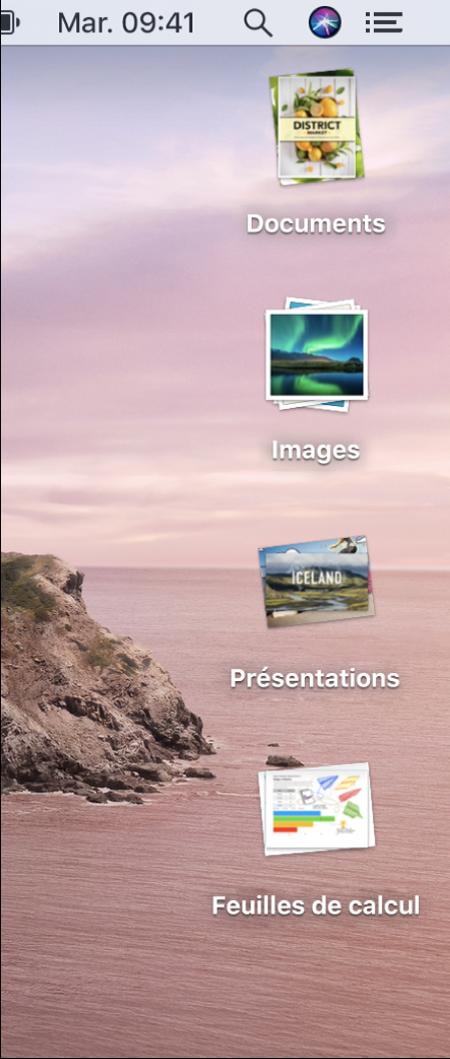 Un bureau Mac qui comportent quatre piles—pour les documents, les images, les présentations et les feuilles de calculs—sur le bord droit de l'écran.
