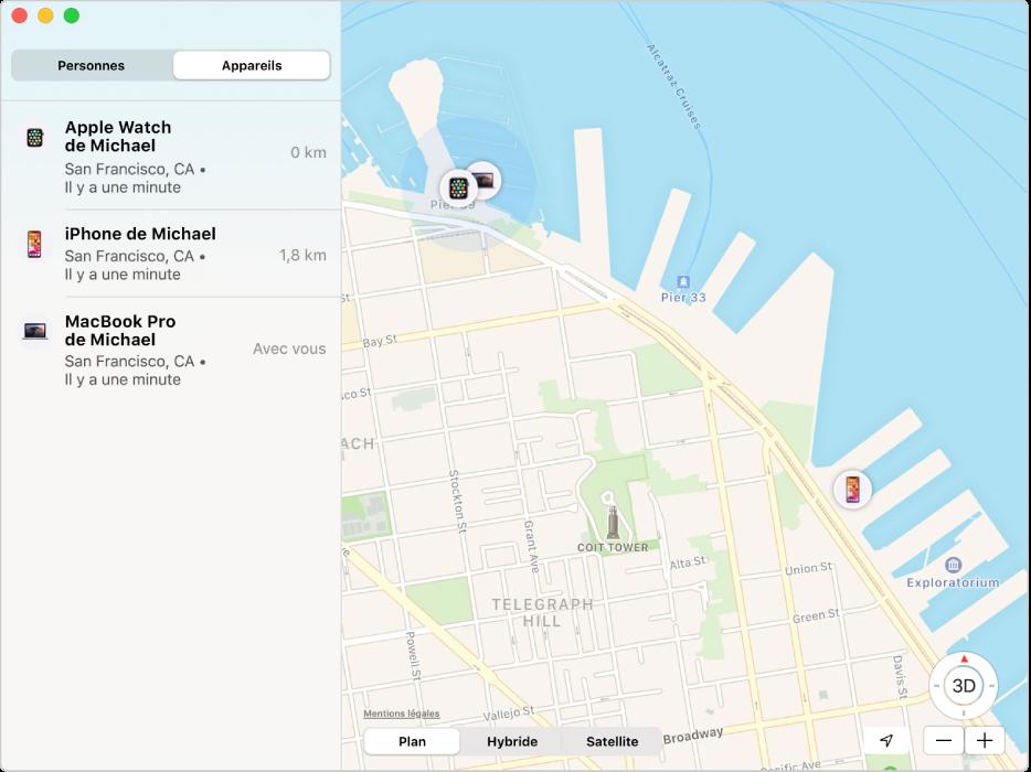 L'app Localiser affichant une liste des appareils dans la barre latérale et leurs positions sur une carte à droite.