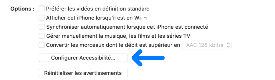 Les options de synchronisation s'affichent avec le bouton «Configurer l'accessibilité» identifié.