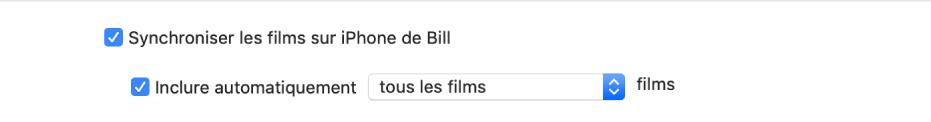 La case «Synchroniser les films sur l'appareil» s'affiche avec la case «Inclure automatiquement» cochée et l'option «Tous les» est sélectionnée dans le menu local.