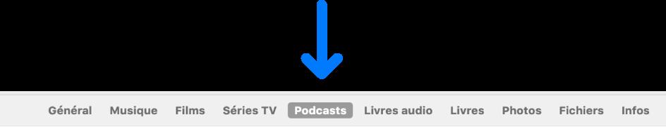 La barre des boutons affichant l'option Podcasts sélectionnée.
