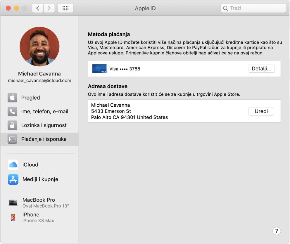 Postavke Apple ID računa s prikazom rubnog stupca različitih vrsta opcija računa koje možete koristiti i postavke Plaćanje i isporuka za postojeći račun.