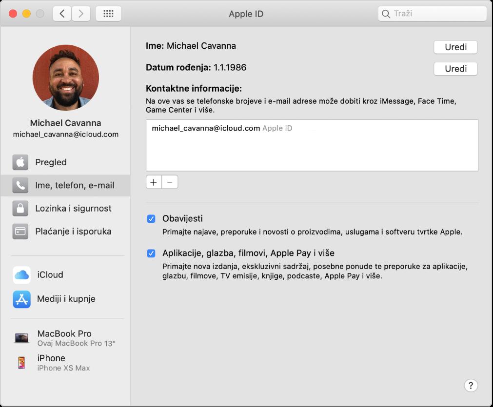 Postavke Apple ID računa s prikazom rubnog stupca s različitim vrstama opcija računa koje možete koristiti te postavke za Ime, Telefon, E-mail za postojeći račun.
