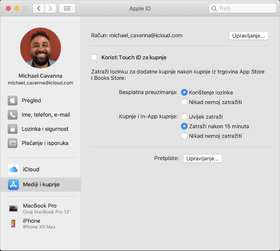 Postavke Apple ID računa s prikazom rubnog stupca različitih vrsta opcija računa koje možete koristiti i postavke Mediji i kupnje za postojeći račun.